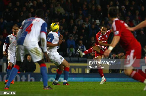 Peter Odemwingie of West Bromwich Albion scores the second and winning goal during the Barclays Premier League match between Blackburn Rovers and...