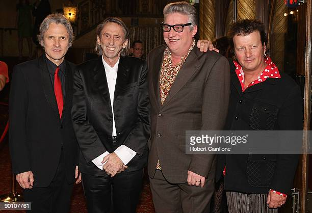 Peter O'Doherty Reg Mombassa Greedy Smith and Martin Plaza of the band Mental as Anything arrive at the 2009 ARIA Hall of Fame awards at The Forum...