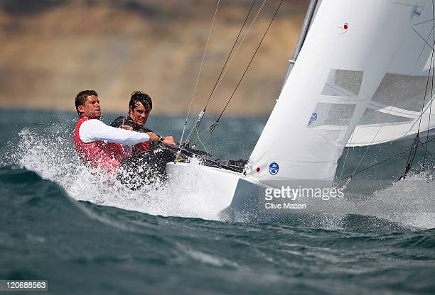 Peter O'Leary and David Burrows of Ireland in action during a Star Class race during day seven of the Weymouth and Portland International Regatta at...
