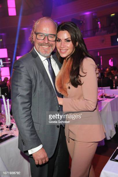 Peter Olsson and his fiance Diana Buergin during the Audi Generation Award 2018 at Hotel Bayerischer Hof on December 11 2018 in Munich Germany