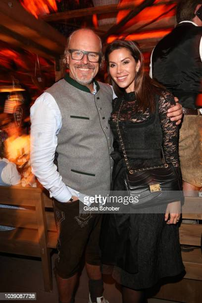 Peter Olsson and his girlfiriend Diana Buergin during the 'Almauftrieb' as part of the Oktoberfest 2018 at Kaefer Tent at Theresienwiese on September...