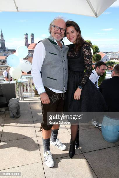 Peter Olsson and his girlfriend Diana Buergin during the 'Amsel Fashion Wiesn Brunch' during the Oktoberfest 2018 at Hotel Mandarin Oriental on...