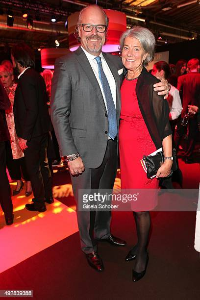 Peter Olsson and his mother Guye Henkel Staiy arrive for the Tribute to Bambi 2015 at Station on October 15 2015 in Berlin Germany