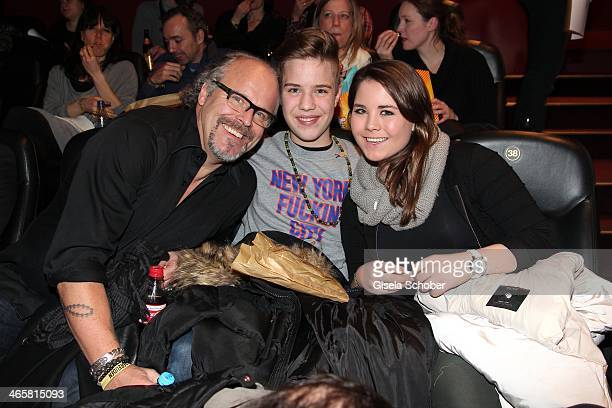 Peter Olsson with son and Natalie attend the premiere of the film 'Vaterfreuden' at Mathaeser Filmpalast on January 29 2014 in Munich Germany