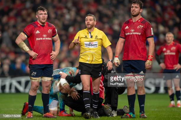 Peter O'Mahony and Jean Kleyn of Munster pictured with referee Jerome Garces during the Heineken Champions Cup match between Munster Rugby and Exeter...