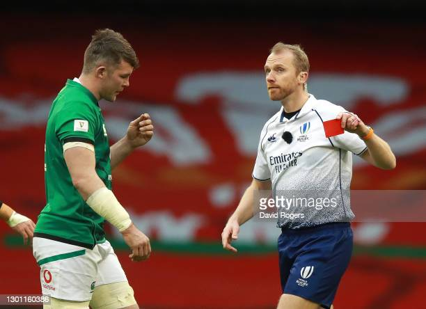 Peter O'Mahony is sent off by referee Wayne Barnes during the Guinness Six Nations match between Wales and Ireland at Principality Stadium on...