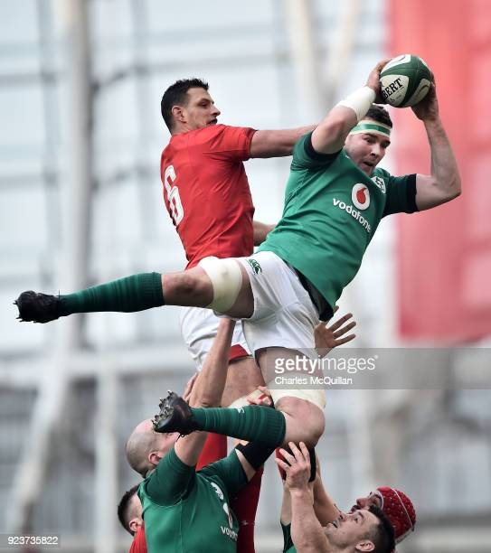 Peter O'Mahony of Ireland and Aaron Shingler of Wales during the Six Nations Championship rugby match between Ireland and Wales at Aviva Stadium on...