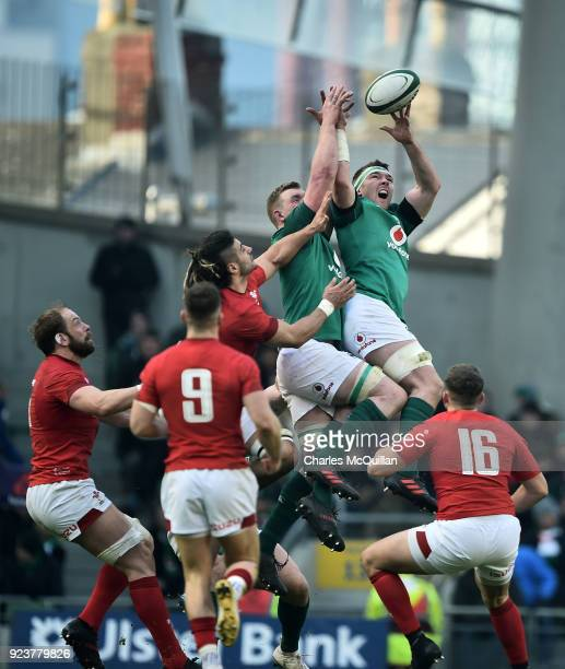 Peter O'Mahony of Ireland collects a kick during the Six Nations Championship rugby match between Ireland and Wales at Aviva Stadium on February 24...