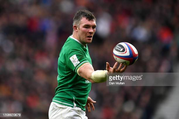 Peter O'Mahony of Ireland gathers the ball during the 2020 Guinness Six Nations match between England and Ireland at Twickenham Stadium on February...