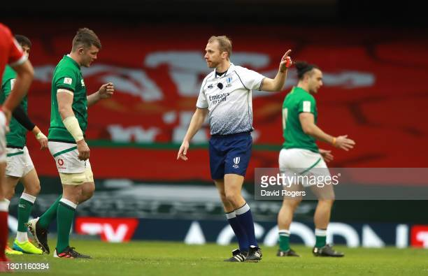 Peter O'Mahony of Ireland is sent off by referee Wayne Barnes during the Guinness Six Nations match between Wales and Ireland at Principality Stadium...