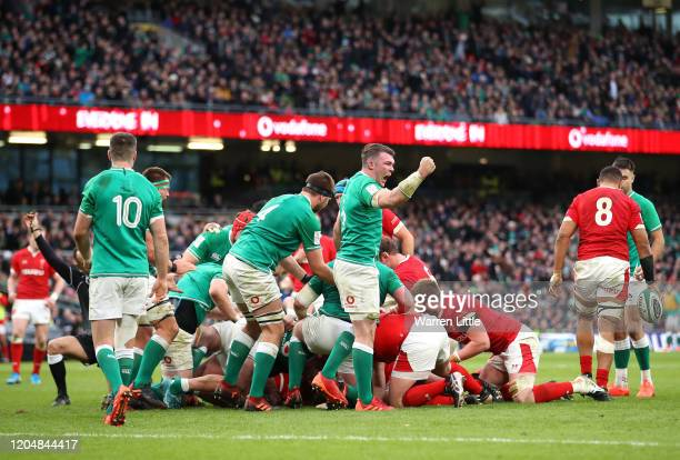 Peter O'Mahony of Ireland leads celebrations as referee awards a penalty during the 2020 Guinness Six Nations match between Ireland and Wales at...