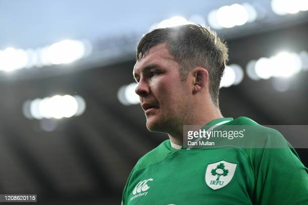 Peter O'Mahony of Ireland leaves the field dejected following his side's defeat during the 2020 Guinness Six Nations match between England and...