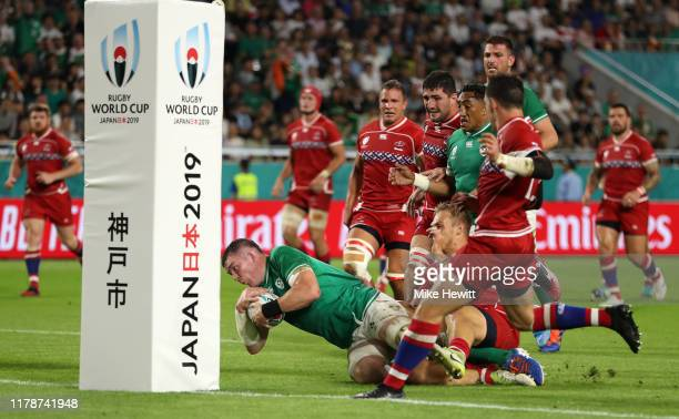 Peter O'Mahony of Ireland scores his team's second try during the Rugby World Cup 2019 Group A game between Ireland and Russia at Kobe Misaki Stadium...