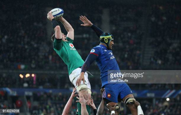 Peter O'Mahony of Ireland Sebastien Vahaamahina of France during the NatWest 6 Nations match between France and Ireland at Stade de France on...