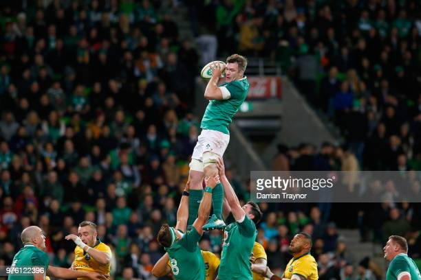 Peter O'Mahony of Ireland takes the ball from a line out during the International test match between the Australian Wallabies and Ireland at AAMI...