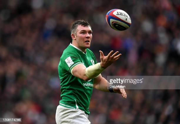 Peter O'Mahony of Ireland throws the ball during the 2020 Guinness Six Nations match between England and Ireland at Twickenham Stadium on February...
