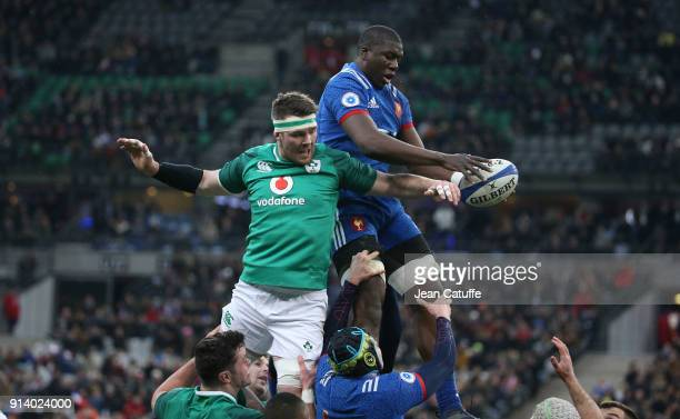 Peter O'Mahony of Ireland Yacouba Camara of France during the NatWest 6 Nations match between France and Ireland at Stade de France on February 3...