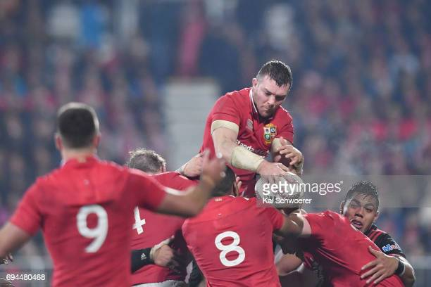 Peter OMahony of the Lions wins a lineout during the match between the Crusaders and the British Irish Lions at AMI Stadium on June 10 2017 in...