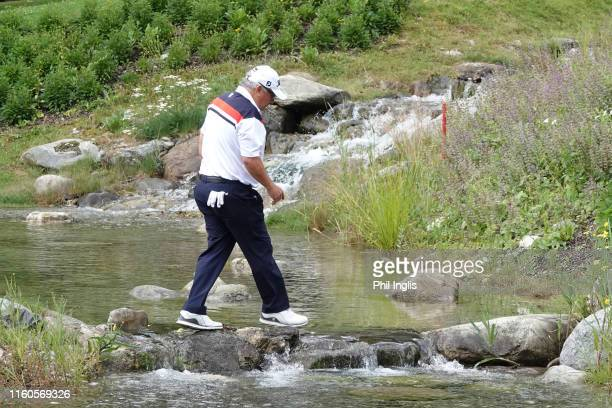 Peter O'Malley of Australia in action during the final round of the Swiss Seniors Open played at Golf Club Bad Ragaz on July 07, 2019 in Bad Ragaz,...