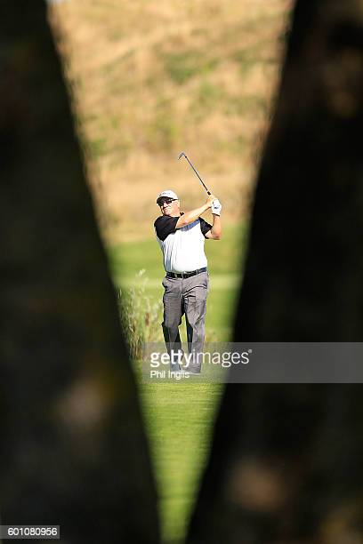 Peter O'Malley of Australia in action during the first round of the Paris Legends Championship played on L'Albatros course at Le Golf National on...
