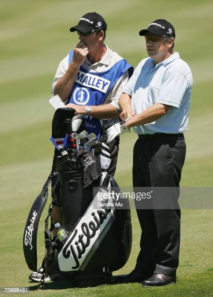 Peter O'Malley of Australia with his caddy on the 16th fairway during round three of the New Zealand Open at Gulf Harbour Country Club on the...