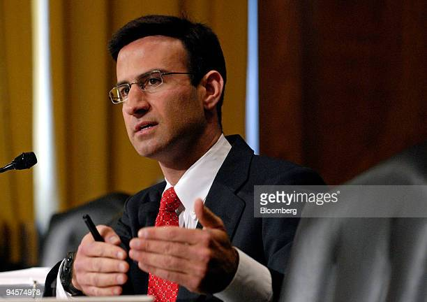 Peter Orszag director of the Congressional Budget Office speaks at a Senate Finance Committee hearing on a possible economic stimulus plan in...