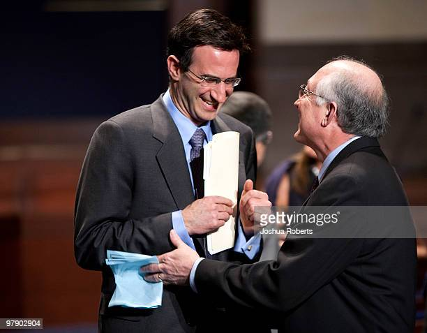 Peter Orszag director of the Office of Management and Budget and Ken Salazar Secretary of the Interior speak before US President Barack Obama spoke...