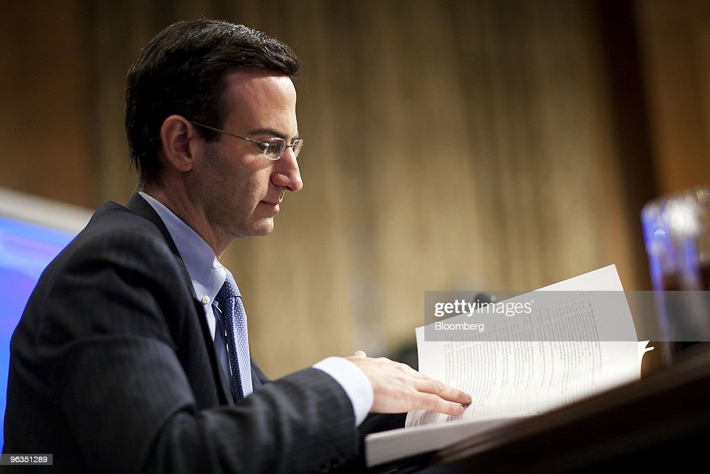 Peter Orszag, director of the U.S. Office of Management and Budget, testifies at a Senate Budget Committee hearing in Washington, D.C., U.S., on Tuesday, Feb. 2, 2010. Orszag discussed the administration's strategy to reduce the deficit and President Obama's proposal to provide community banks with $30 billion to spur lending to small businesses. Photographer: Joshua Roberts/Bloomberg via Getty Images