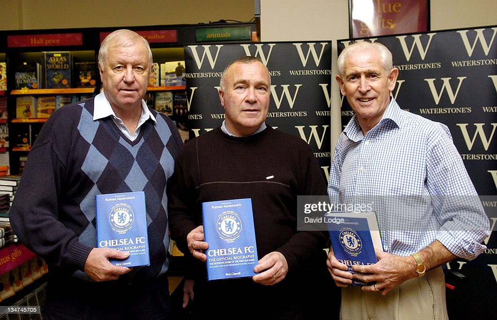 Peter Osgood, Ron Harris and Peter Bonetti during Former Chelsea Players Sign Copies of 'Chelsea