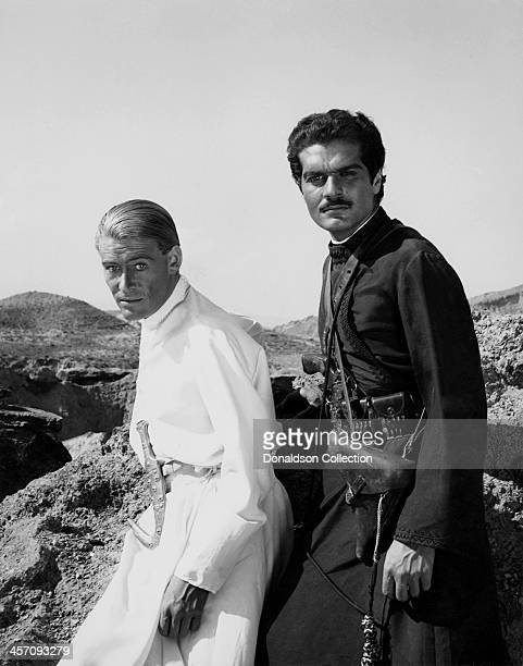 Peter O'Toole and Omar Sharif on the set of the film 'Lawrence of Arabia' released in 1962.