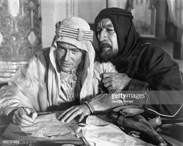 Peter O'Toole as 'Lawrence of Arabia' in the 1963 Columbia pictures film of the same name a Sam Spiegel Production Anthony Quinn as Chief AudaAbuTayi...