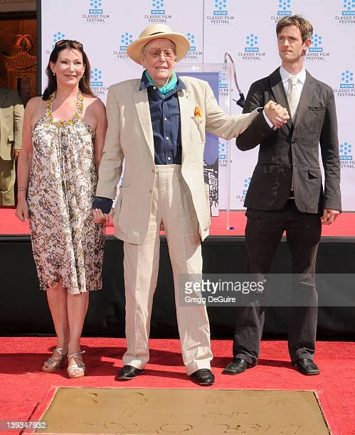 Peter O'Toole daughter Kate O'Toole and son Lorcan O'Toole pose as his hand and footprints are enshrined in concrete at the Grauman's Chinese Theatre...