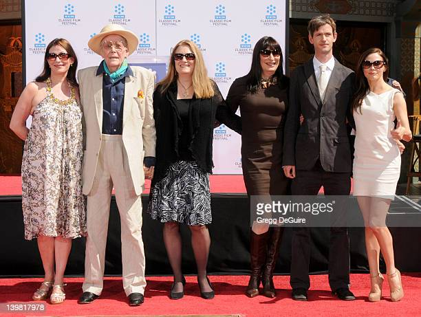 Peter O'Toole daughter Kate O'Toole son Lorcan O'Toole Anjelica Huston and Rose McGowan pose as his hand and footprints are enshrined in concrete at...