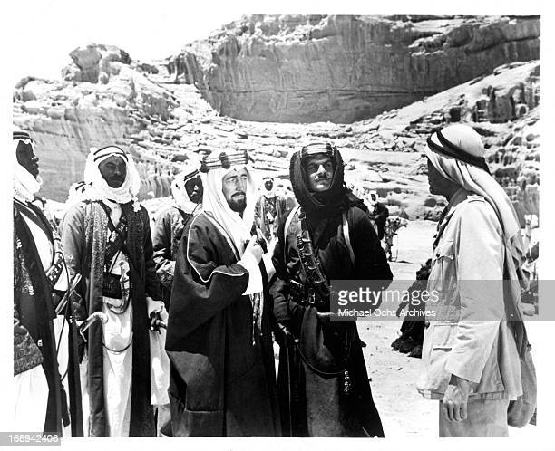 Peter O'Toole Omar Sharif and Alec Guinness in a scene from the film 'Lawrence Of Arabia' 1962