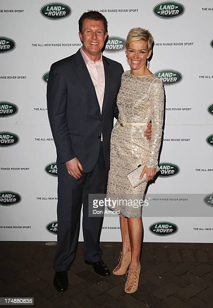 Peter Overton and Jessica Rowe arrive at a Range Rover Sport launch event at the Overseas Passenger Terminal on July 29 2013 in Sydney Australia