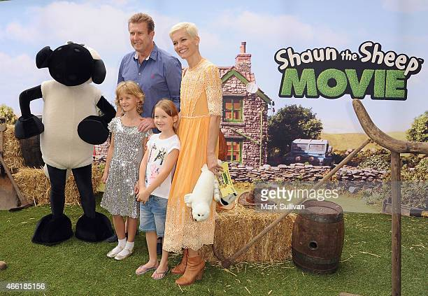 Peter Overton Jessica Rowe and daughters arrive at the Australian Premiere of 'Shaun The Sheep The Movie' at Moore Park on March 14 2015 in Sydney...
