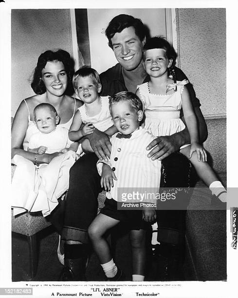 Peter Palmer, with wife Jackie, children Kathleen, Sherri, Mike, Scott in publicity portrait for the film 'Li'l Abner', 1959.