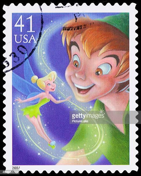 usa peter pan y campanilla sello postal - disney fotografías e imágenes de stock