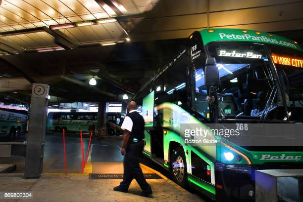 Peter Pan bus awaits a departure to New York at the South Station bus terminal in Boston on Nov 1 2017 Bus services such as Peter Pan and the...