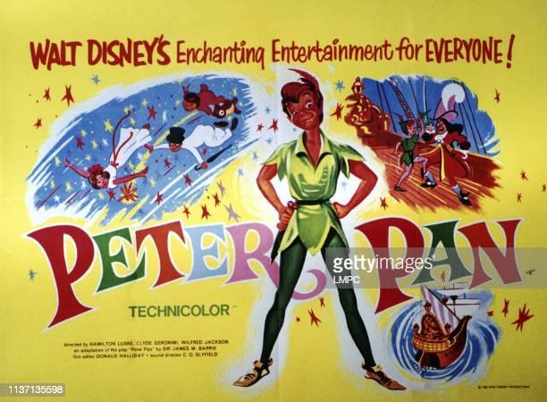 Peter Pan, poster, from left: Wendy Darling, John Darling, Michael Darling, , , Captain Hook, 1953.