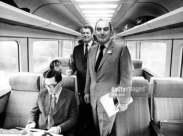 Peter Parker new Chairman of British Rail on the new high speed train to Cardiff September 30th 1976