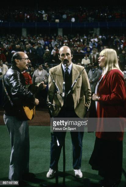Peter Paul Mary sings the National Anthem before game 4 of the 1987 World Series between the Minnesota Twins and the St Louis Cardinals October 21...