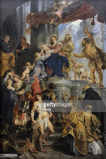 Peter Paul Rubens Flemish painter Virgin and Child Enthroned with Saints 162728 Oil on wood Gemaldegalerie Berlin Germany