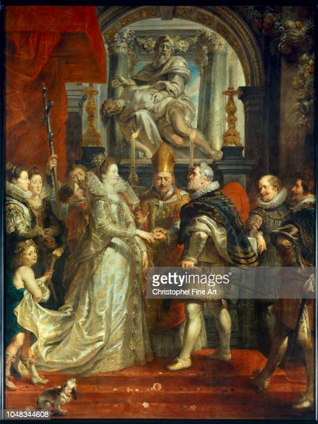 Peter Paul Rubens The Proxy Marriage of Marie de Medici and Henri IV in Florence on 5th October 1600 Oil on canvas 394 x 295 m Paris Louvre Museum