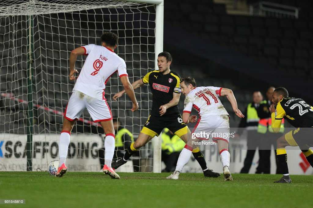 Peter Pawlett of Milton Keynes Dons scores his sides second goal during the Sky Bet League One match between Milton Keynes Dons and Rotherham United at StadiumMK on March 13, 2018 in Milton Keynes, England.