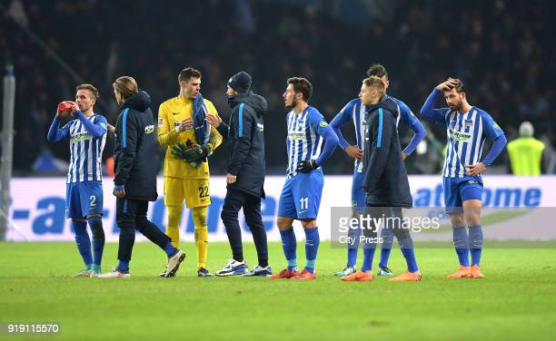 Peter Pekarik Alexander Esswein Rune Almenning Jarstein athletic trainer Hendrik Vieth Mathew Leckie Palko Dardai and Marvin Plattenhardt of Hertha...