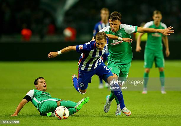 Peter Pekarik of Berlin and Maximilian Eggestein of Bremen battle for the ball during the Bundesliga match between Hertha BSC Berlin and SV Werder...