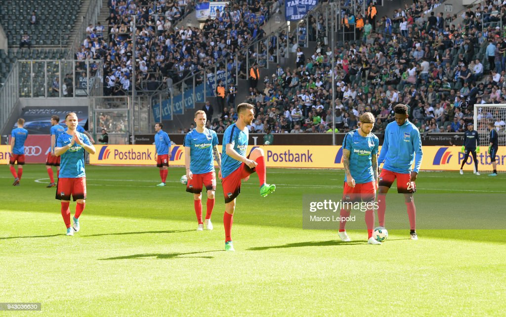 Peter Pekarik, Ondrej Duda, Vedad Ibisevic, Alexander Esswein and Jordan Torunarigha of Hertha BSC before the Bundesliga game between Borussia Moenchengladbach and Hertha BSC at Borussia Park Stadion on April 7, 2018 in Moenchengladbach, Germany.