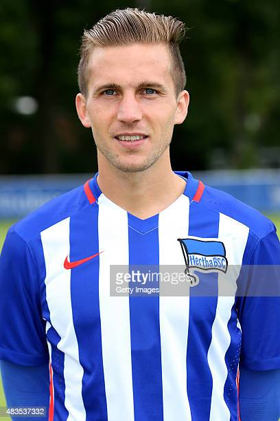 Peter Pekarik poses during the Hertha BSC team presentation on July 10 2015 in Berlin Germany