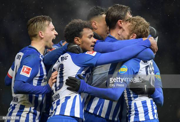 Peter Pekarik Valentino Lazaro Davie Selke Niklas Stark and Fabian Lustenberger of Hertha BSC celebrate after scoring the 20 during the game between...